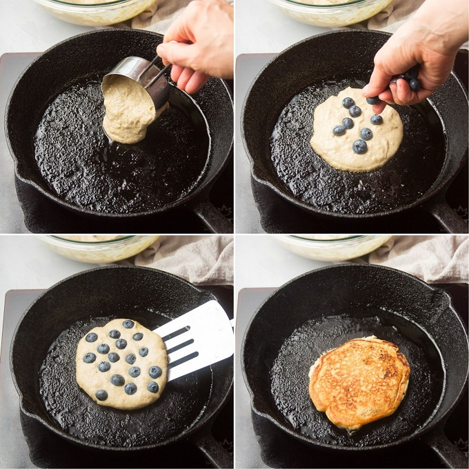Collage Showing Steps for Cooking Blueberry Cornbread Pancakes: Pour Batter in Skillet, Arrange Berries on Top, Cook, then Flip and Cook on Other Side