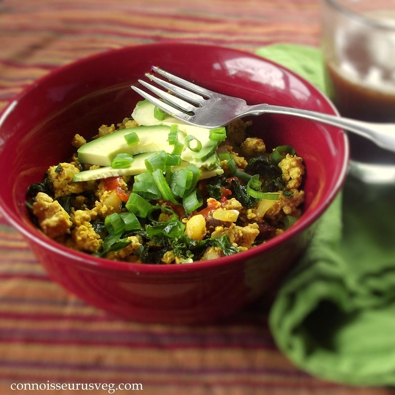 This tofu scramble is a delicious savory vegan breakfast with turmeric ...