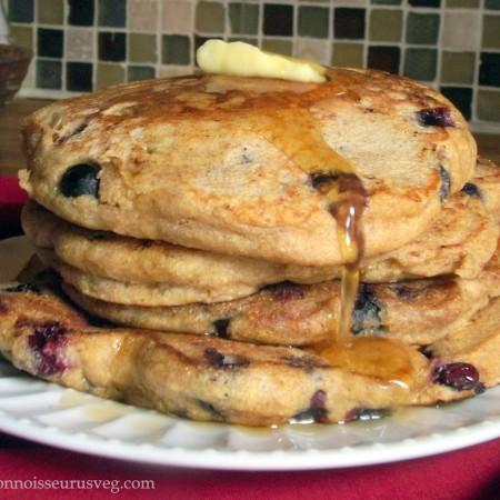 Vegan Blueberry Cornbread Pancakes