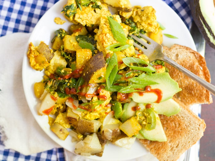 Savory Tofu Scramble with Kale & Crispy Potatoes
