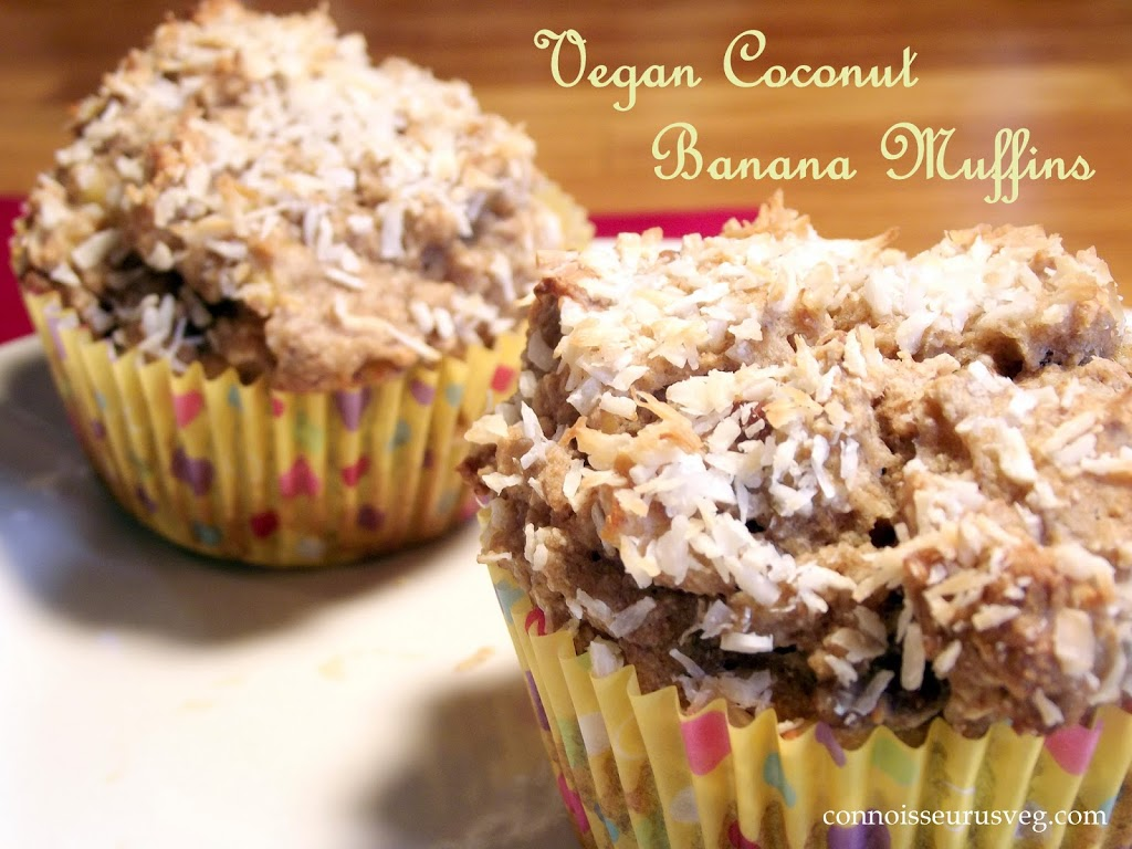 """Close Up of Two Muffins with Text Reading """"Vegan Coconut Banana Muffins"""""""