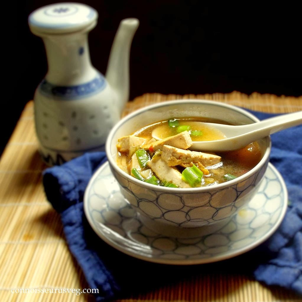 Hot and Sour Soup with Bok Choy - Connoisseurus Veg
