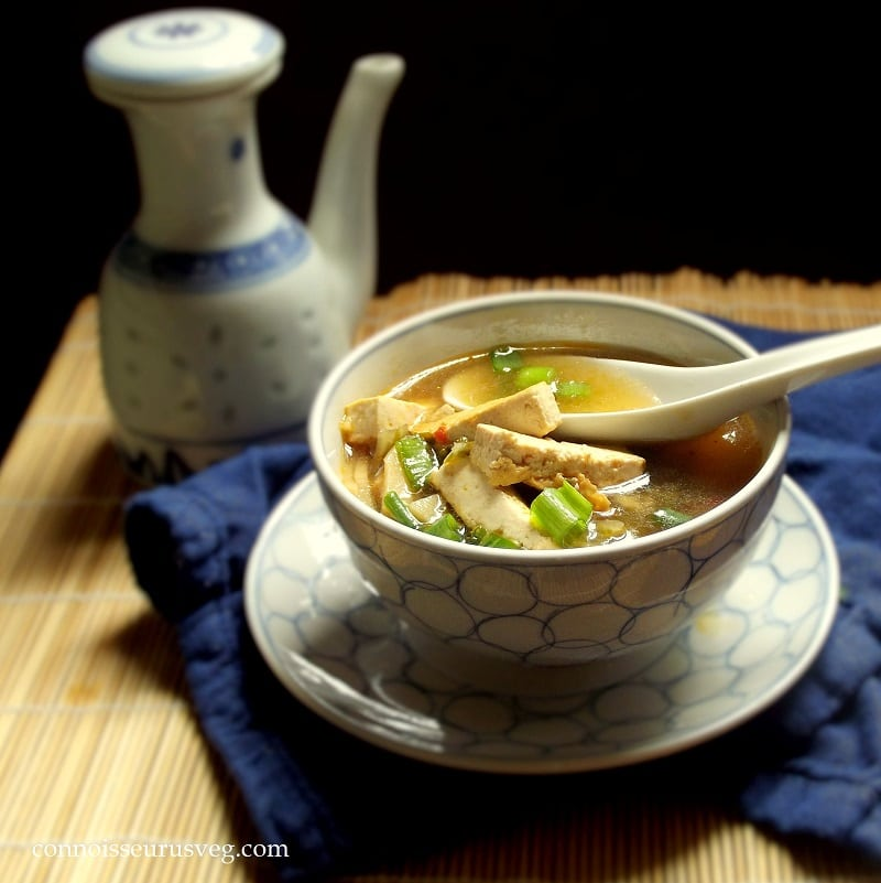 hot and sour soup is made with protein-packed tofu and healthy bok ...