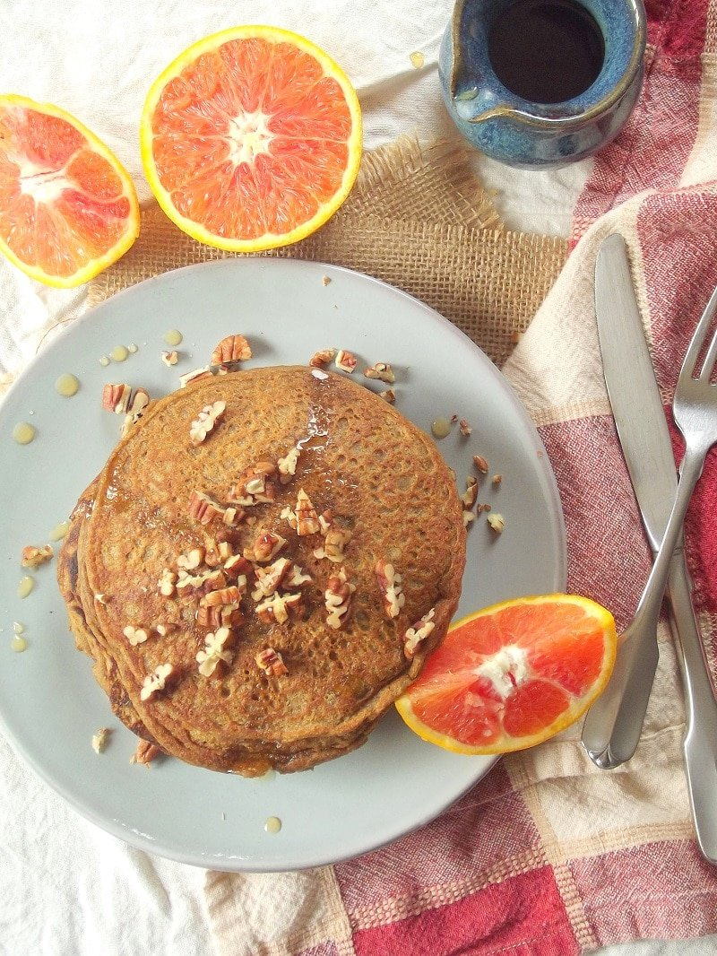 Vegan Sweet Potato Pancakes with Orange Infused Maple Syrup