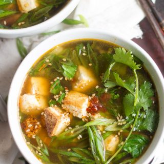 Vegan Hot and Sour Soup with Bok Choy