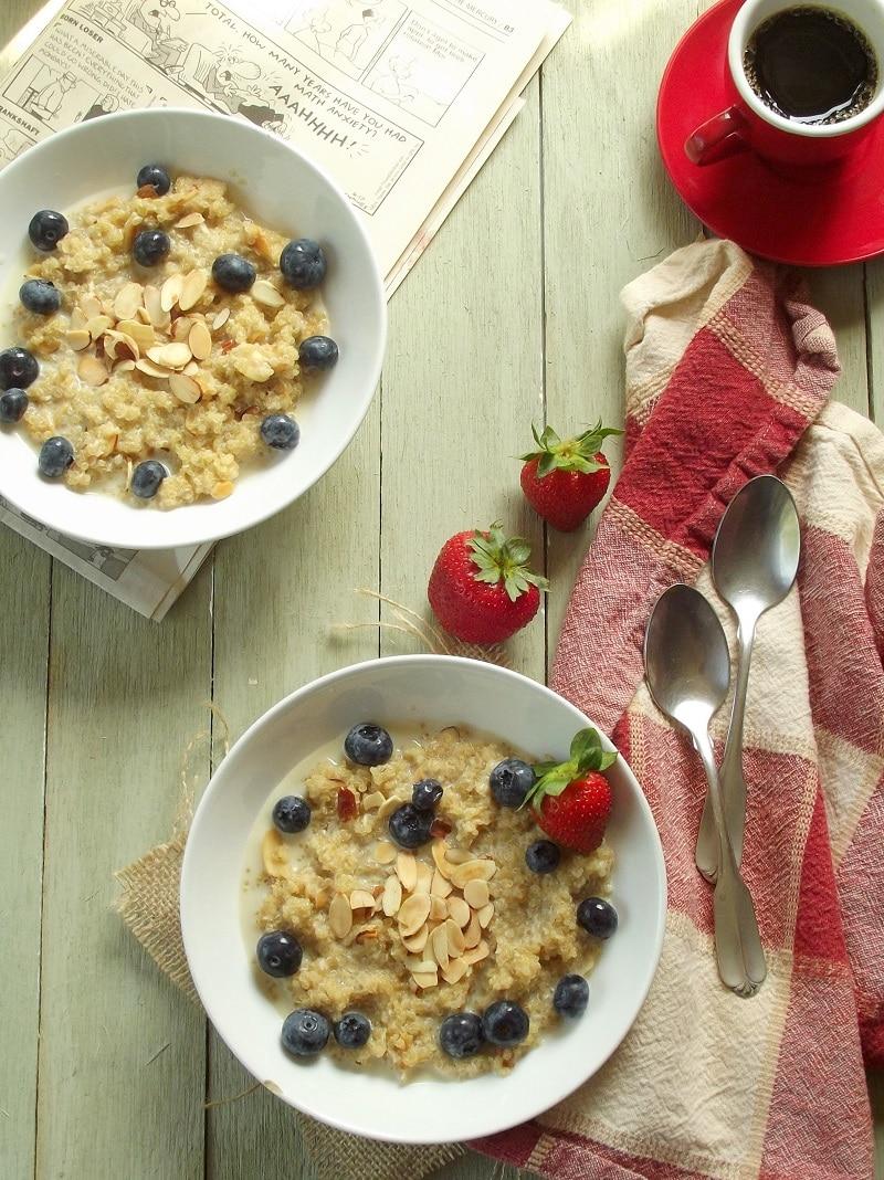 Double Coconut Almond Breakfast Quinoa Porridge