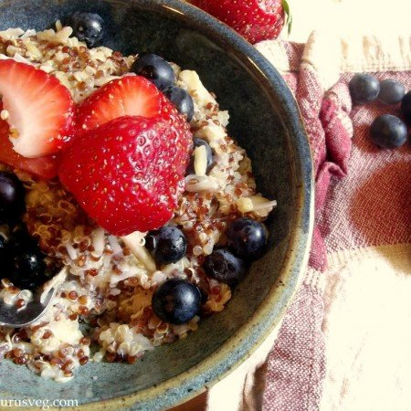 Double Coconut Almond Breakfast Quinoa Porridge