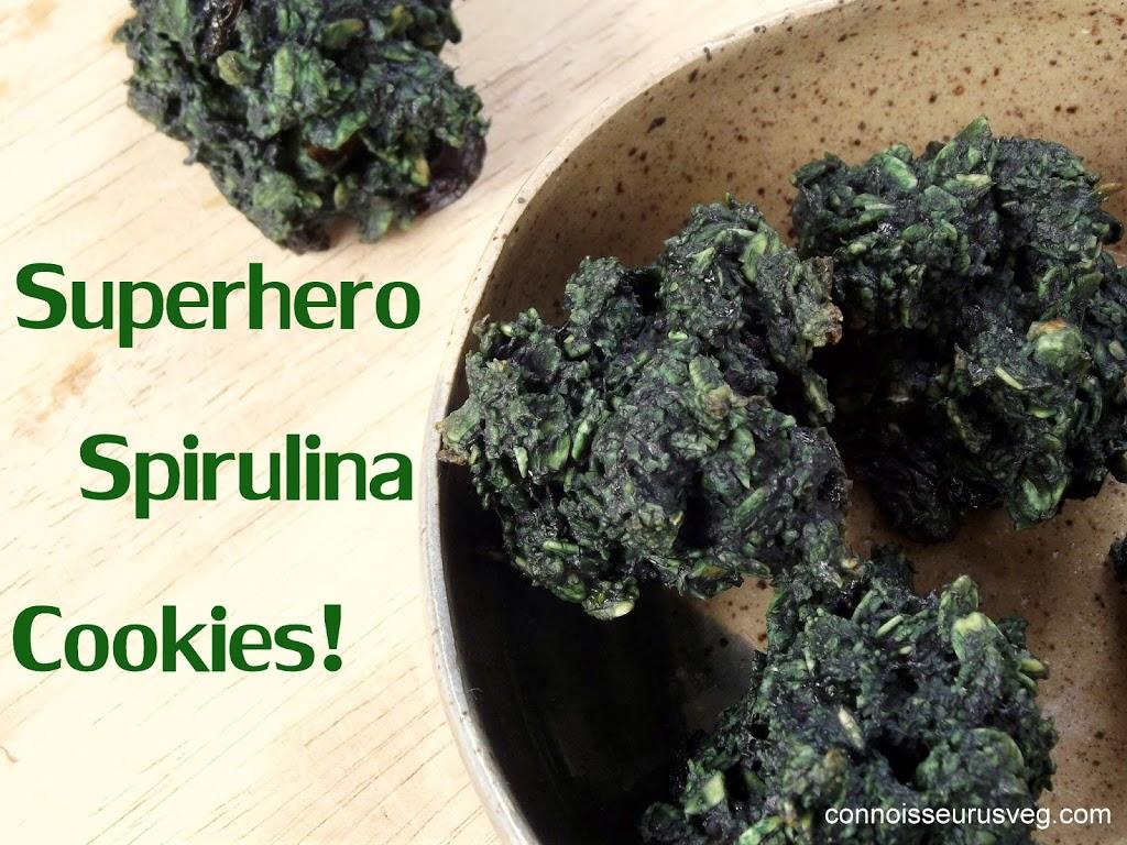 "Close Up of Spirulina Cookies in a Dish with Text ""Superhero Spirulina Cookies"""