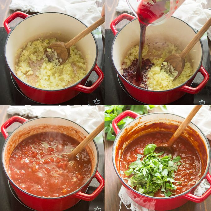 Collage Showing Steps for Making Marinara Sauce: Cook Garlic and Onions, Add Wine, Add Tomatoes and Spices, Simmer and Stir in Basil