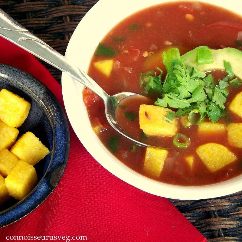 Southwestern Tomato-Bean Soup with Polenta Croutons