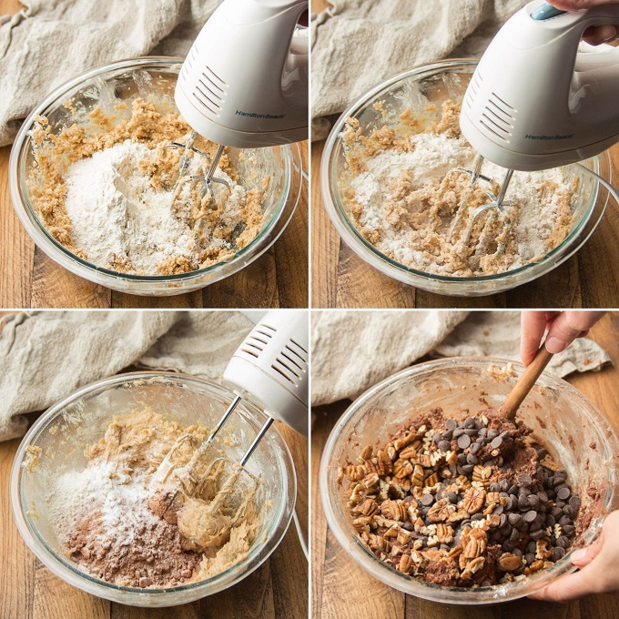 Collage Showing Steps 3-6 for Making Vegan Chocolate Cookies: Add Dry Ingredients in 3 Increments, then Stir in Oats, Chocolate Chips and Pecans