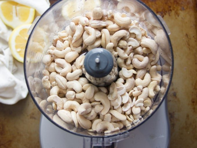 Soaked Raw Cashews in a Food Processor for Making Cashew Cream Cheese