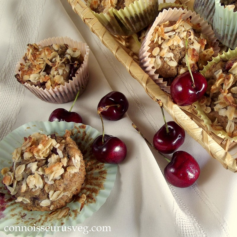 Vegan Cherry Oatmeal Crumble Top Muffins