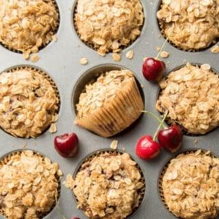 Vegan Chocolate Chunk Cherry Muffins in a Tin