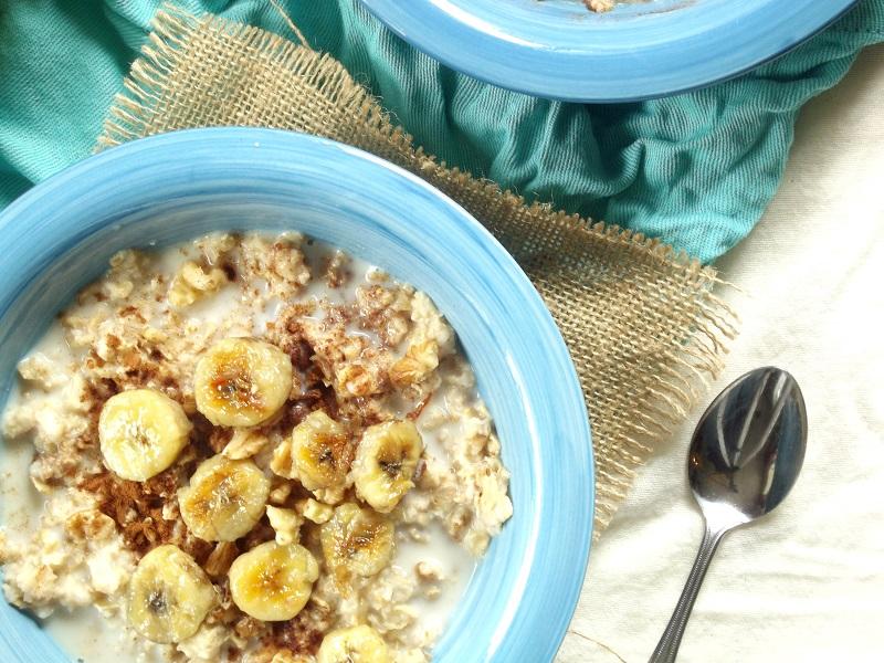 fried banana oatmeal detail