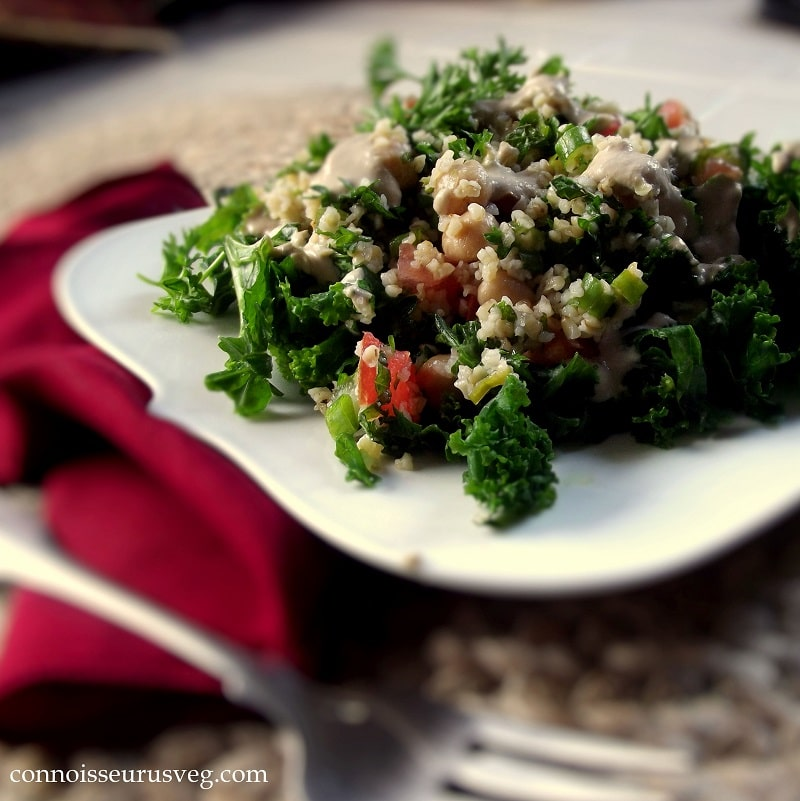 Plate of Taboulleh Salad with Kale, Fork in the Foreground