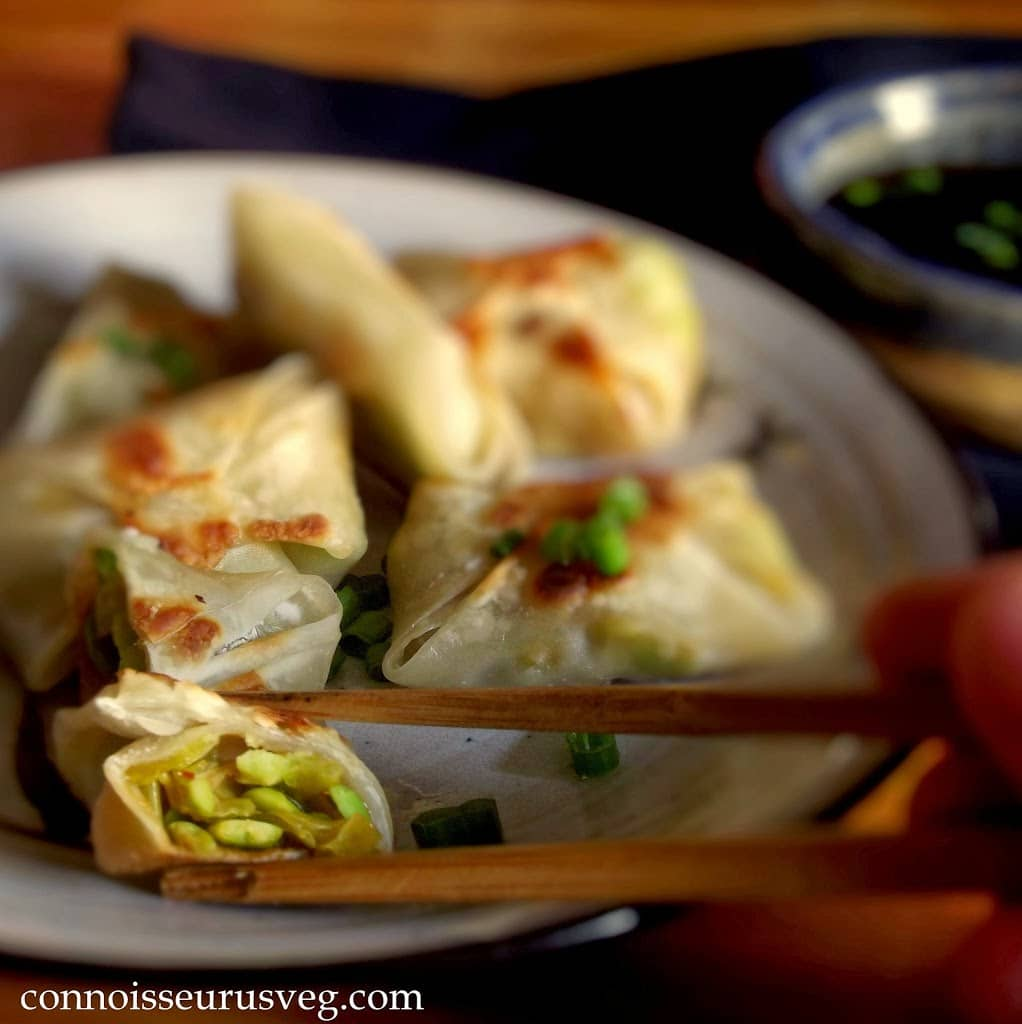 Close Up of Chopsticks Holding Half of a Wonton in Front of a Plate