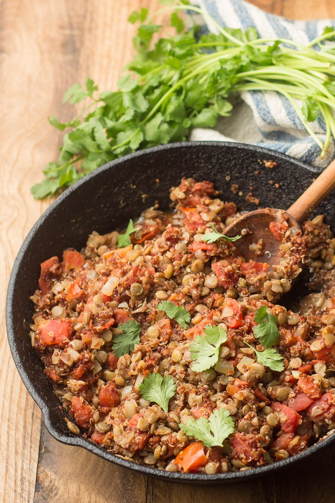 Skillet Filled with Vegan Lentil Quinoa Taco Meat