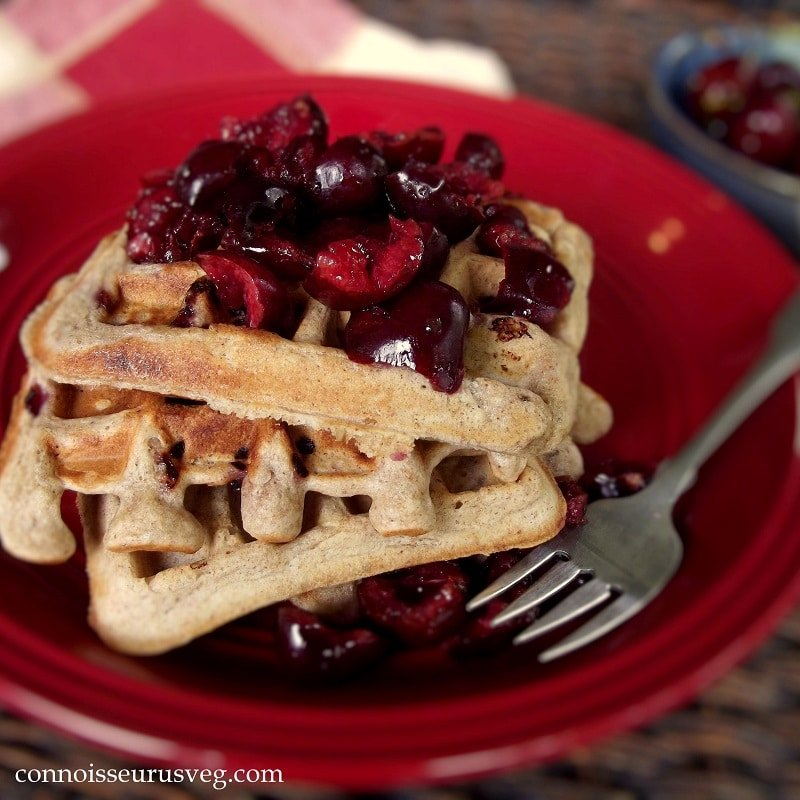 Vegan Whole Wheat Cherry Almond Waffles