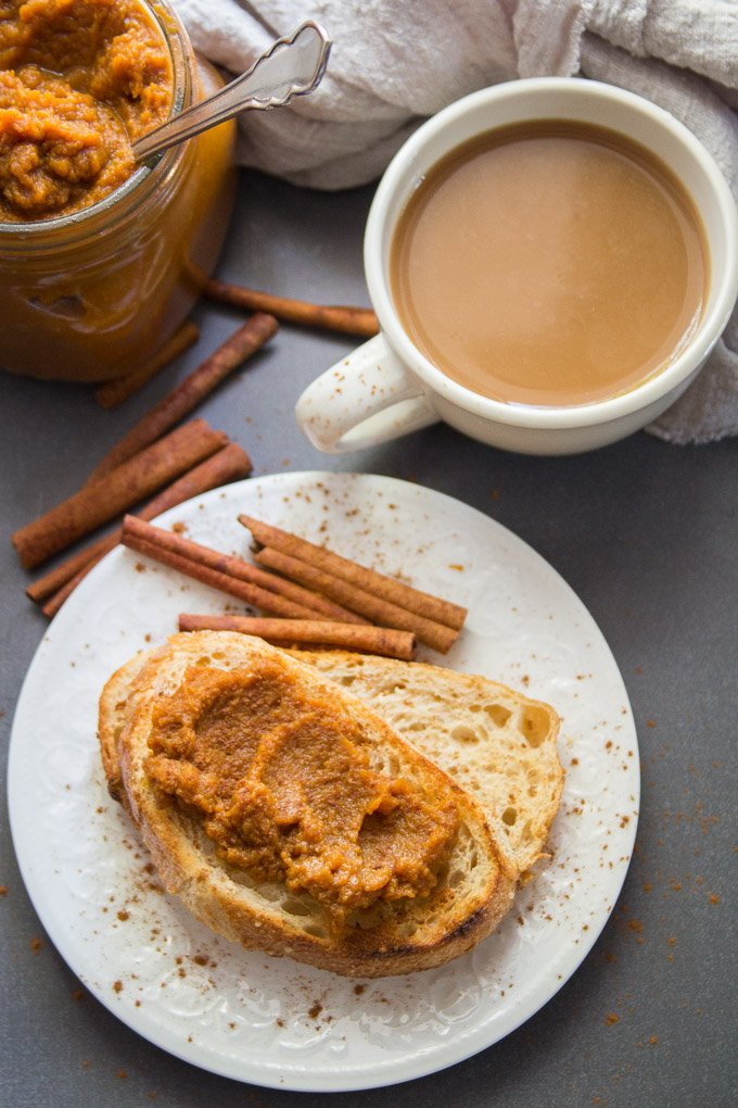Toast Topped with Pumpkin Butter on a Plate with Cup of Coffee and Cinnamon Sticks