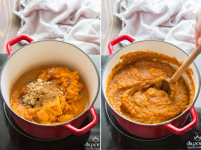 Collage Showing Steps to Make Pumpkin Butter: Place Ingredients into a Pot and Simmer