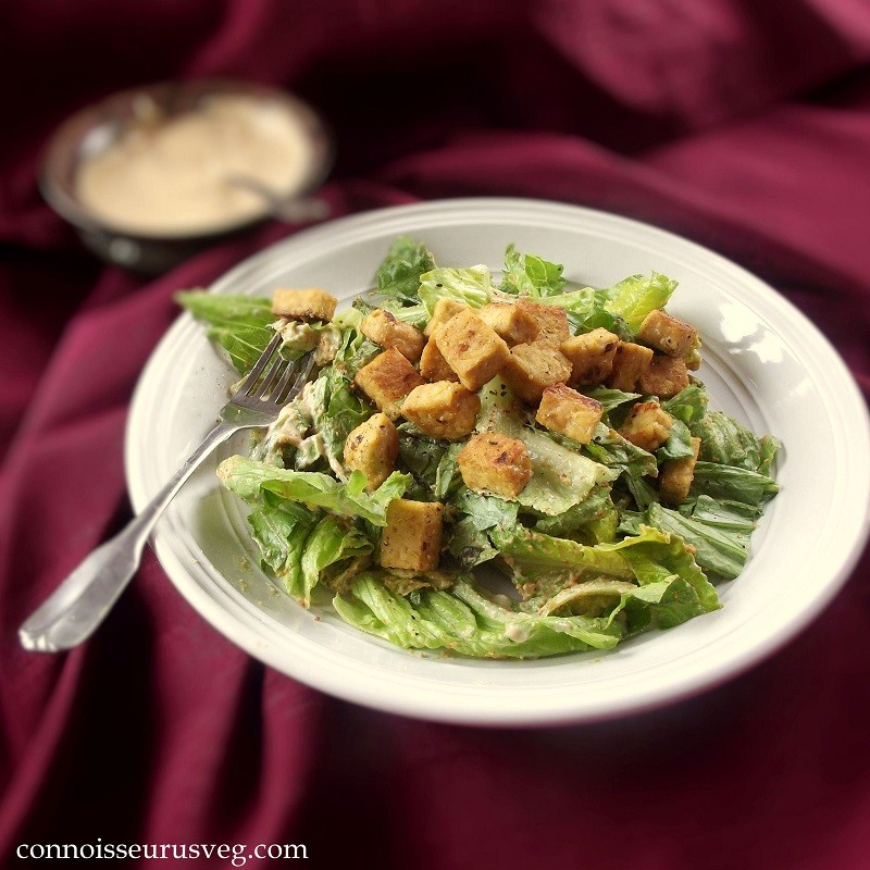 Vegan Tahini Caesar with Lemon Garlic Tempeh Croutons