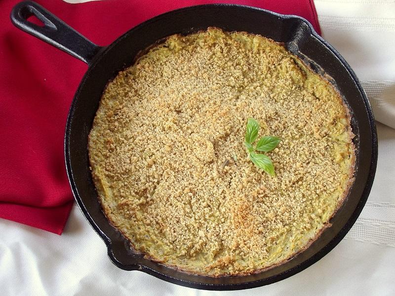 Vegan Creamy Pesto Spaghetti Squash Bake