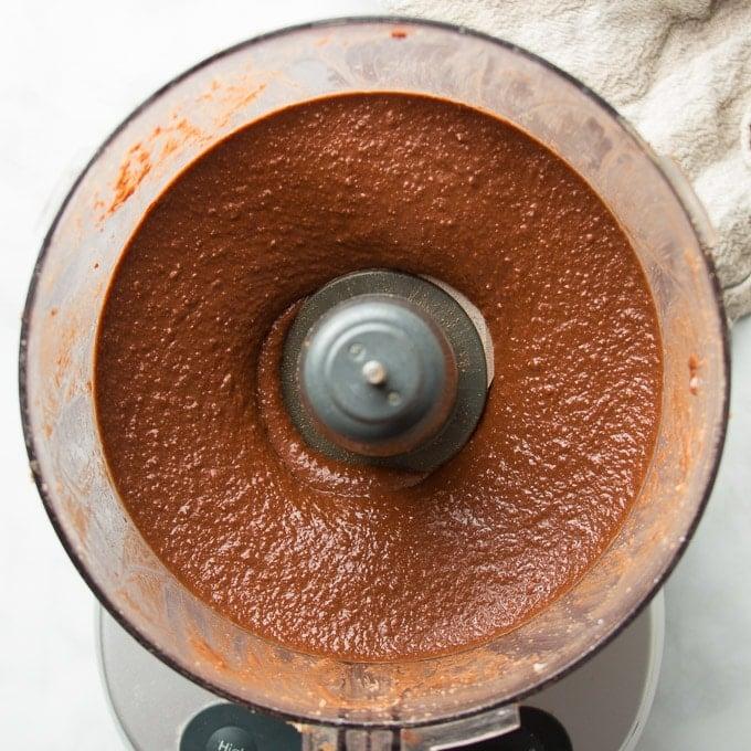 Vegan Nutella in a Food Processor Bowl After Blending