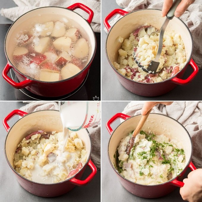 Collage Showing Steps to Make Mashed Red Potatoes: Boil Potatoes, Mash, Add Vegan Milk, Butter and Herbs, and Mix