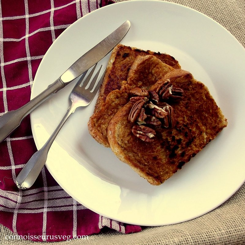 Overhead View of Slices of Sweet Potato French Toast on a Plate with Fork and Knife