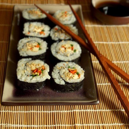 Tofu Sushi on a Dish with Chopsticks