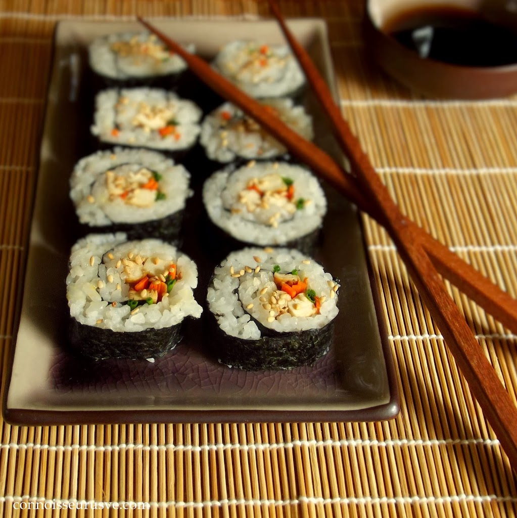 Tofu Sushi on a Dish with Chopsticks