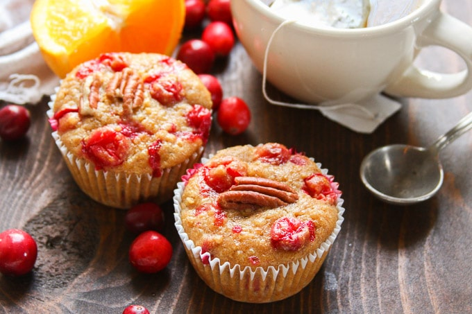 Close Up of Two Cranberry Orange Quinoa Muffins