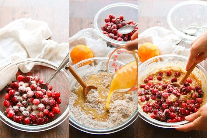 Collage Showing Steps for Making Cranberry Orange Quinoa Muffins: Sprinkle Cranberries with Sugar, Mix Dry Ingredients with Wet, and Fold in Cranberries