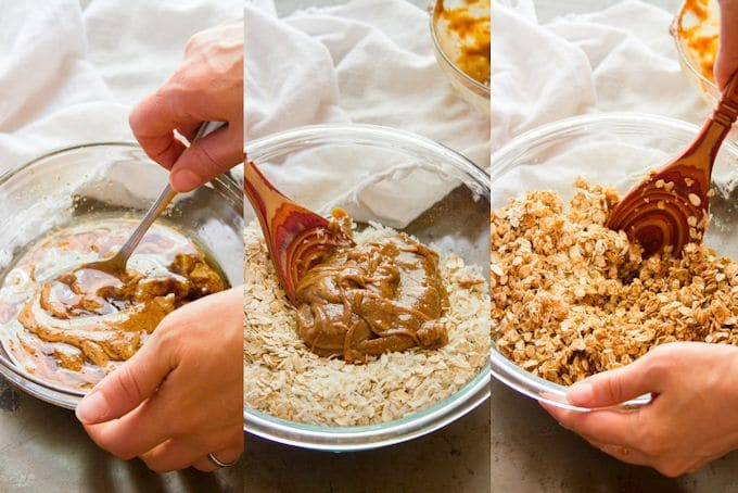 Collage Showing Steps for Making Peanut Butter Granola: Mix Wet Ingredients, Add to Oats, and Mix Thoroughly