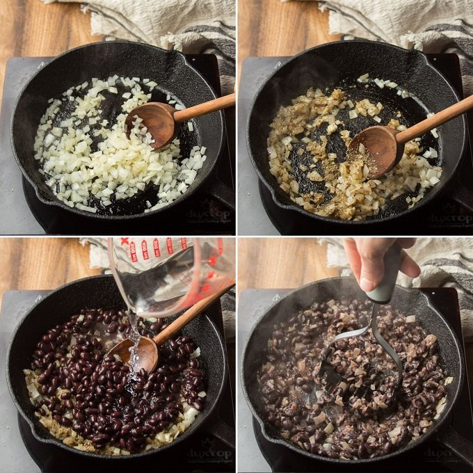 Collage Showing Steps for Making Refried Black Beans: Cook Onion, Add Garlic and Spices. Add Beans, and Mash Beans