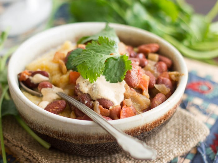 Creamy Polenta with Spicy Red Beans and Chipotle Cashew Cream