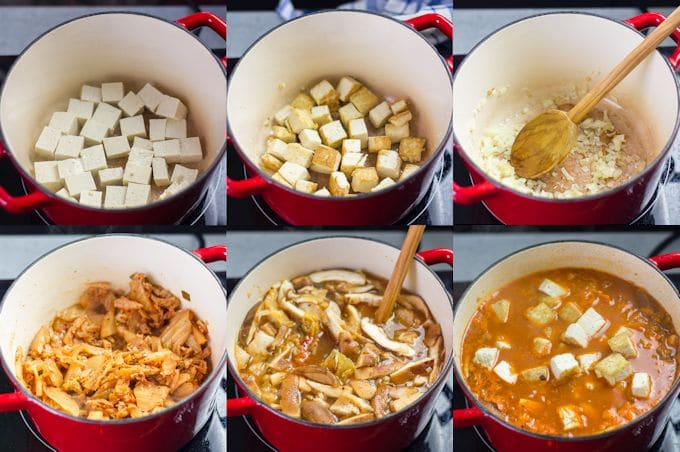 Collage Showing Steps for Making Kimchi Stew: Brown Tofu in a Pot, Cook Onions, Sauté Kimchi, Add Mushrooms and Broth, Simmer, and Add Tofu