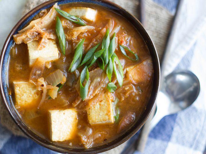 Kimchi Stew with Tofu and Shiitakes - Connoisseurus Veg