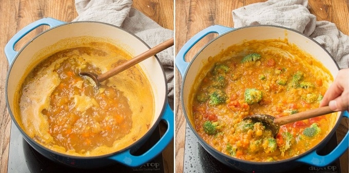 Two Images Showing Steps for Making Mulligatawny Soup: Simmer and Add Veggies