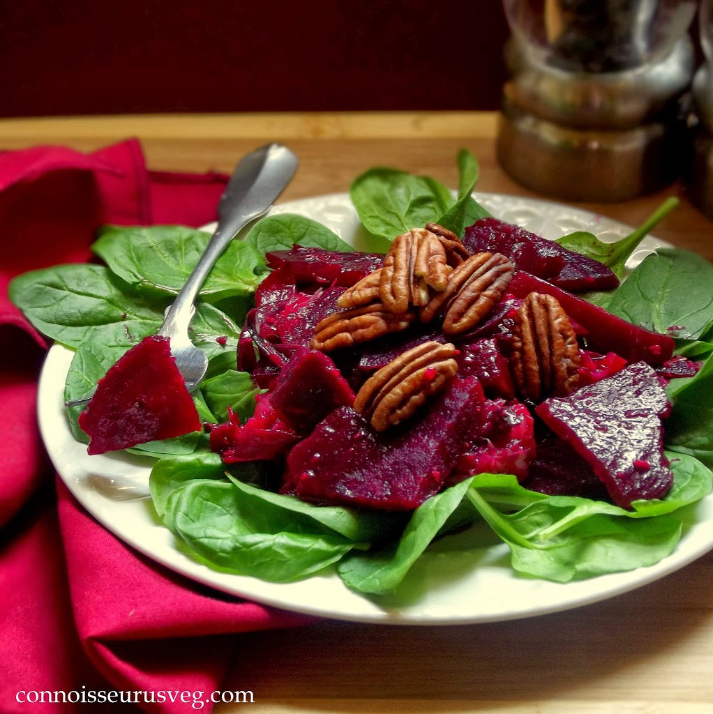Beet Salad with Fork, Salt and Pepper Shakers in the Background