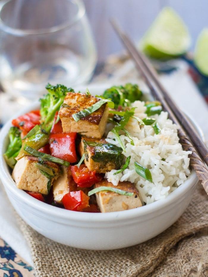 Thai Basil Tofu Stir Fry - Connoisseurus Veg