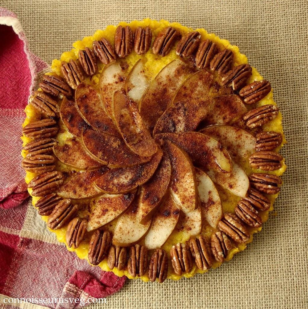 Overhead View of a Whole Polenta Pear Tart