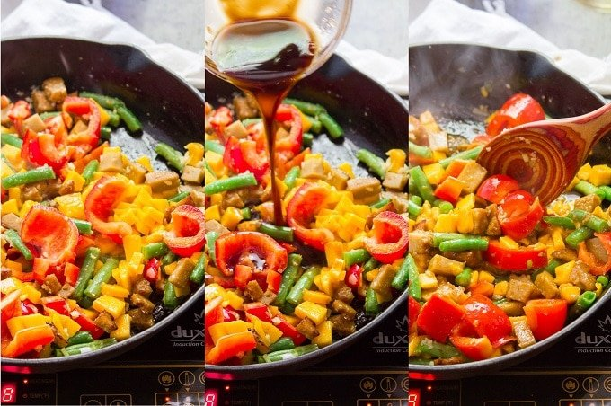 Collage Showing Steps 4-6 For Making Vegan Mango Chicken: Add Seitan and Mango To Skillet, Add Sauce, and Cook Until Sauce Thickens