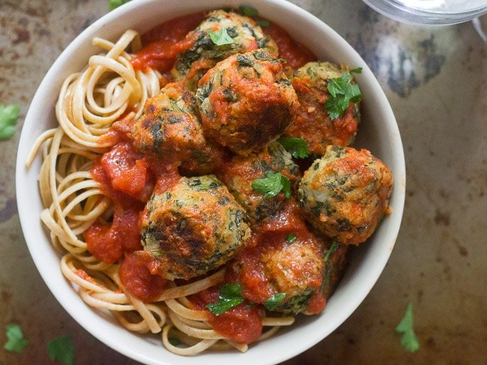 Overhead View of a Bowl of Vegan Meatballs and Pasta