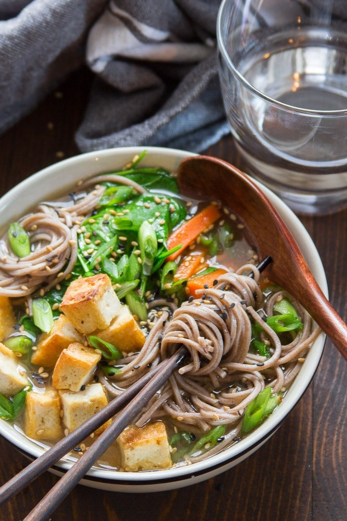Miso Soba Noodle Soup with Crispy Tofu