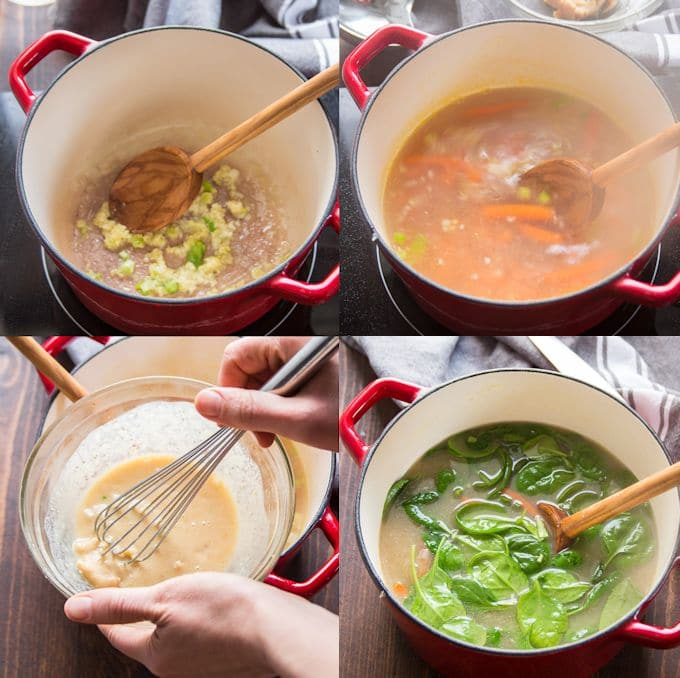 Collage Showing Steps for Making Miso Soba Noodle Soup: Sauté Aromatics, Add Water and Carrots, Whisk Miso Paste and Water Together, Add Miso Mixture and Spinach To the Soup