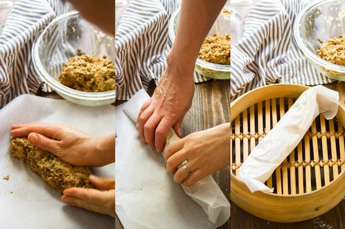 Collage Showing the Steps for Shaping Vegan Breakfast Sausage: Shape Dough Into a Log, Roll in Parchment, and Place in Steamer