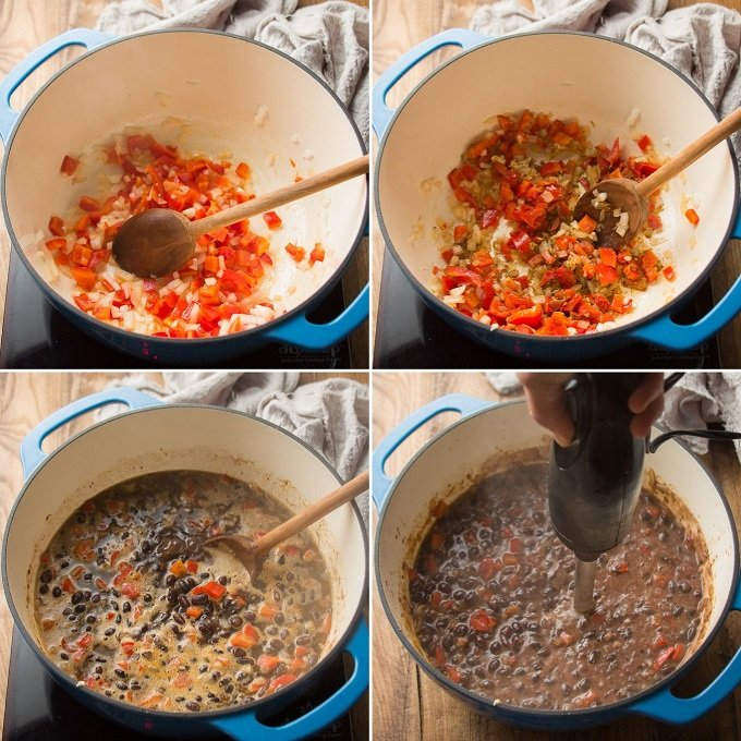 Collage Showing Steps for Making Black Bean Soup: Sweat Veggies, Add Spices, Simmer with Beans and Broth and Blend