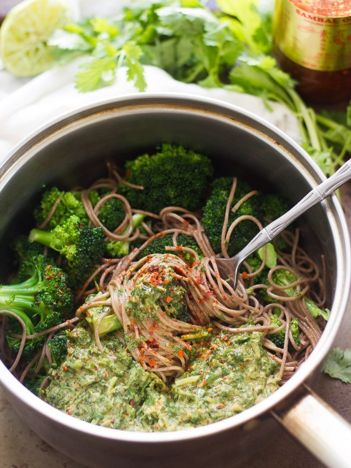 Cilantro Peanut Soba Noodles in a Pot with Broccoli and a Fork